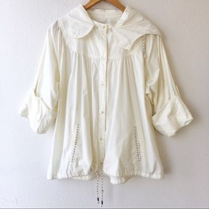 Anthropologie Button Down Jacket Maple Hood Ivory